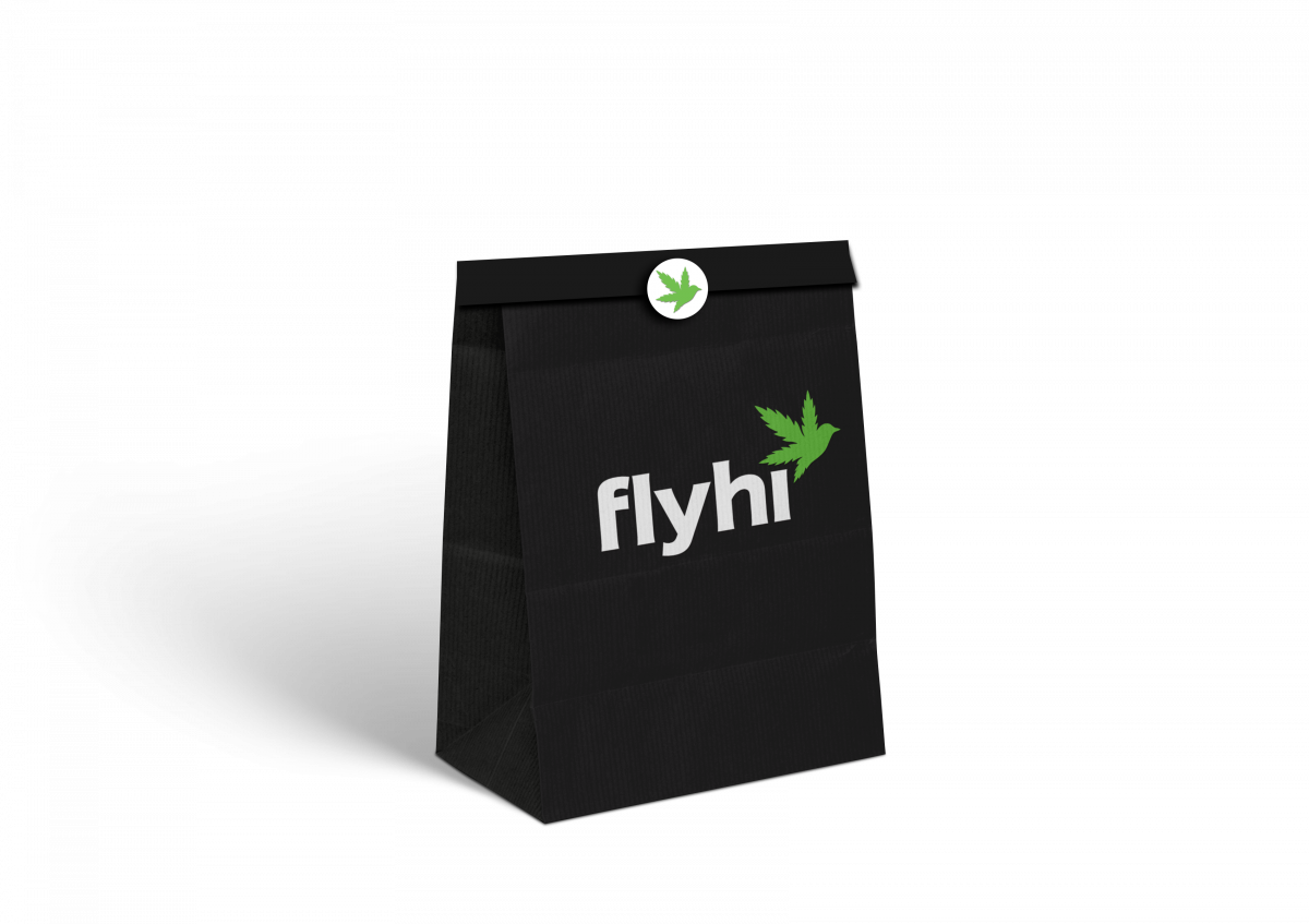 Sleek black packaging for cannabis delivery